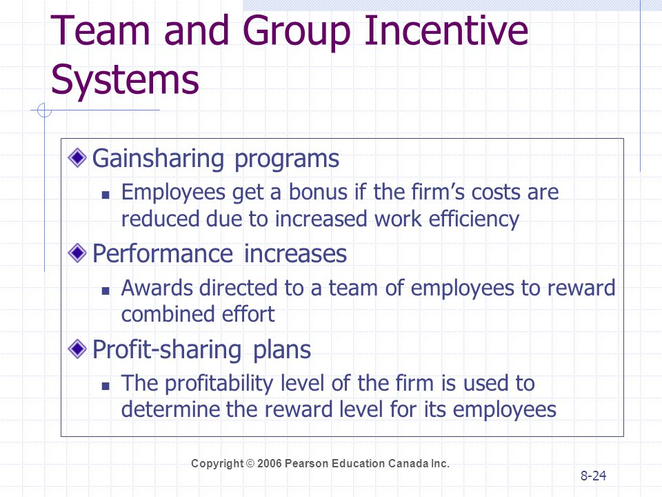 Team and Group Incentive Systems