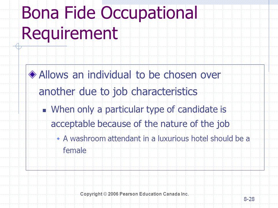Bona Fide Occupational Requirement
