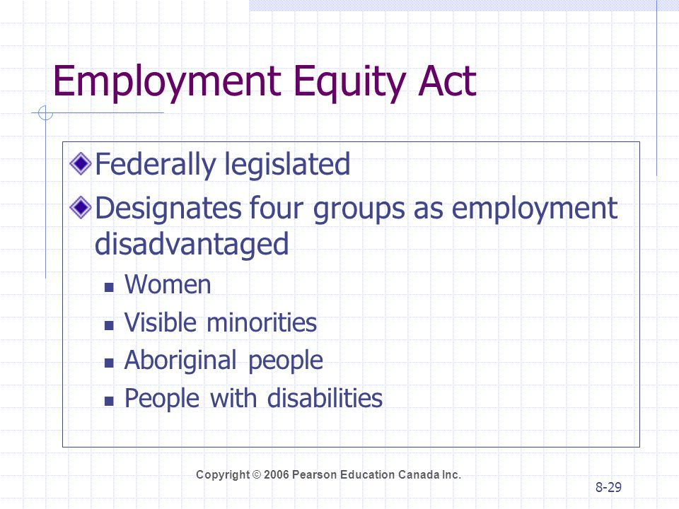 Employment Equity Act Federally legislated