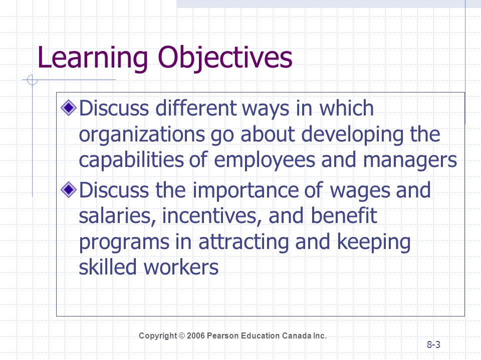 Learning Objectives Discuss different ways in which organizations go about developing the capabilities of employees and managers.