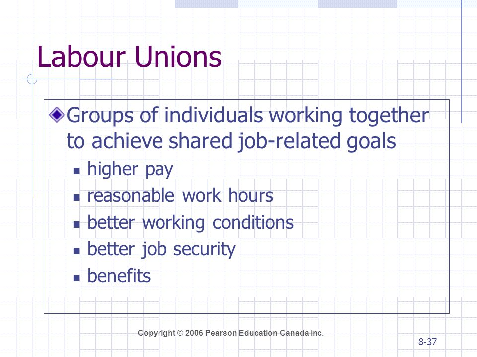 Labour Unions Groups of individuals working together to achieve shared job-related goals. higher pay.