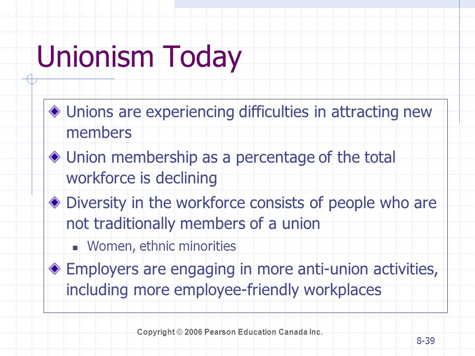Unionism Today Unions are experiencing difficulties in attracting new members. Union membership as a percentage of the total workforce is declining.