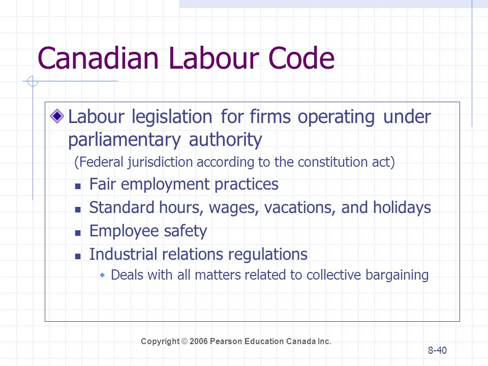 Canadian Labour Code Labour legislation for firms operating under parliamentary authority. (Federal jurisdiction according to the constitution act)