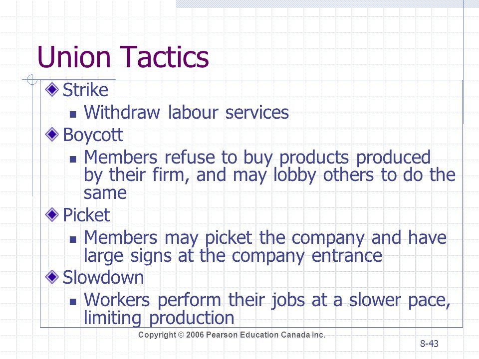 Union Tactics Strike Withdraw labour services Boycott