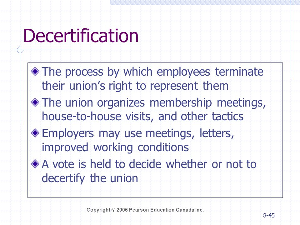 Decertification The process by which employees terminate their union's right to represent them.