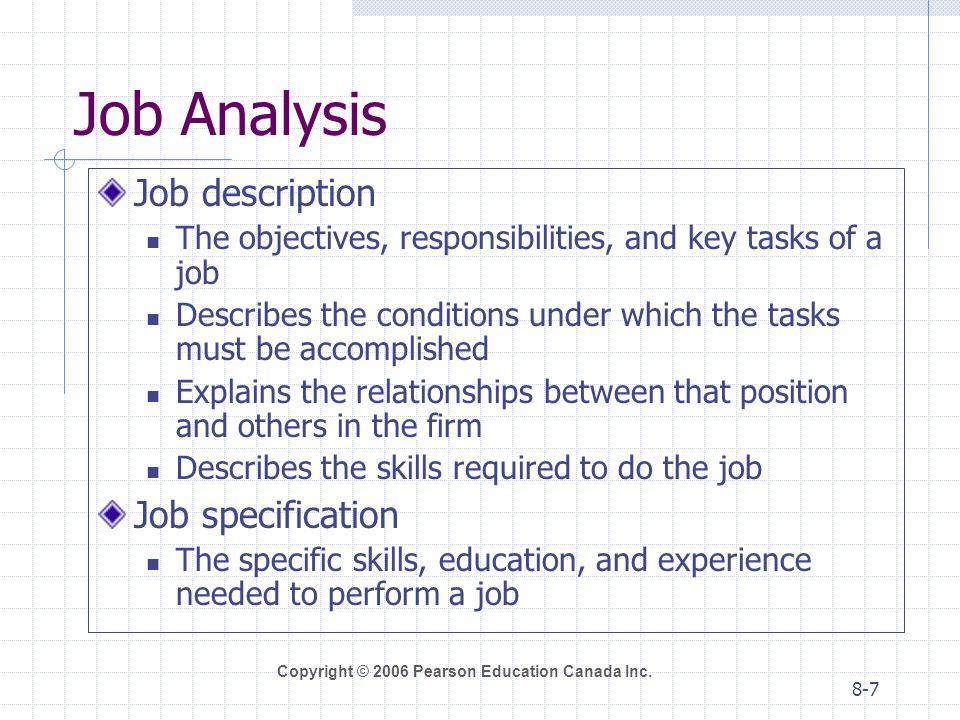 Job Analysis Job description Job specification
