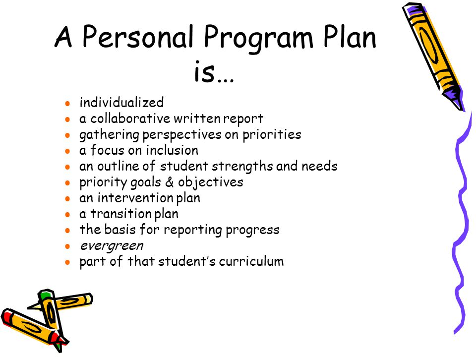 A Personal Program Plan is…