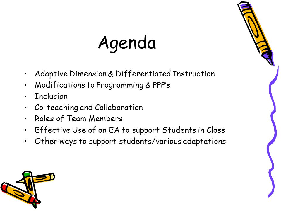 Agenda Adaptive Dimension & Differentiated Instruction