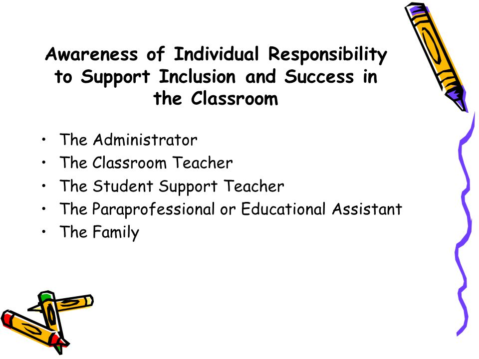 Awareness of Individual Responsibility to Support Inclusion and Success in the Classroom