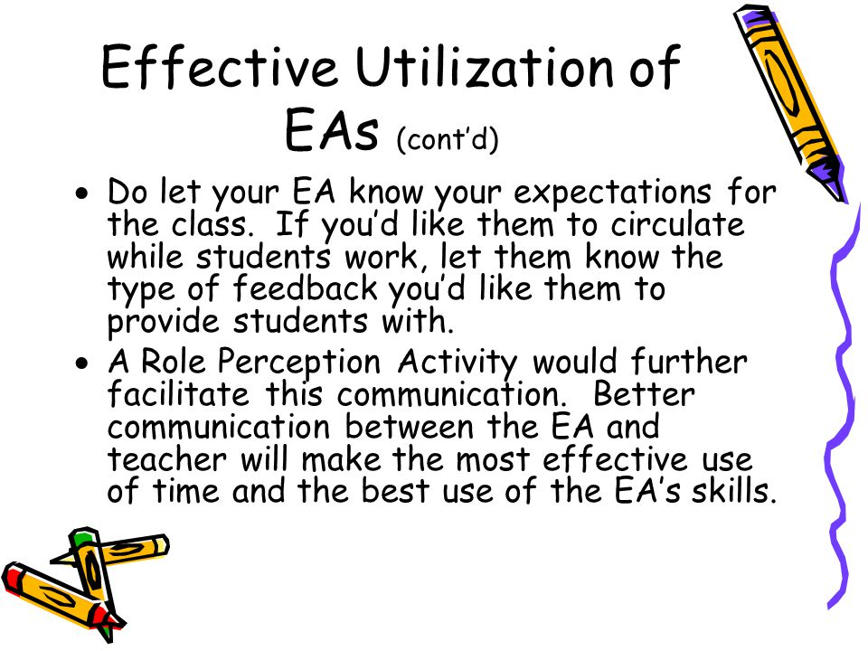 Effective Utilization of EAs (cont'd)