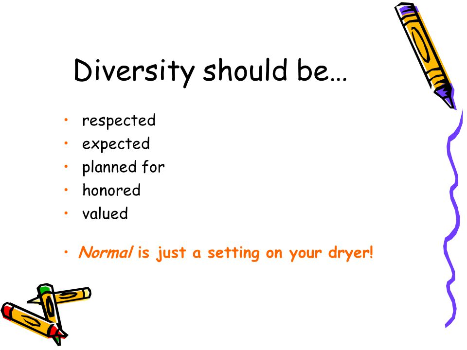 Diversity should be… respected expected planned for honored valued
