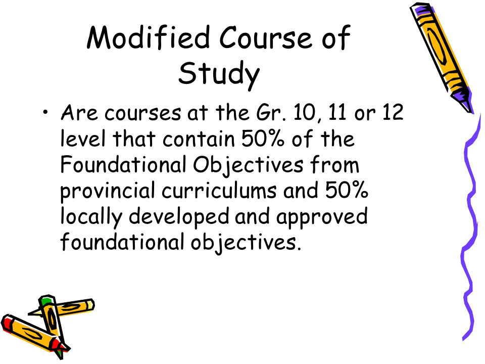 Modified Course of Study