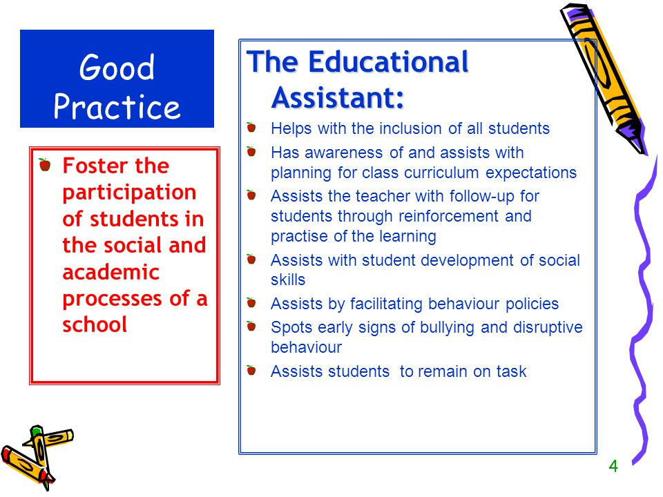 Good Practice The Educational Assistant: