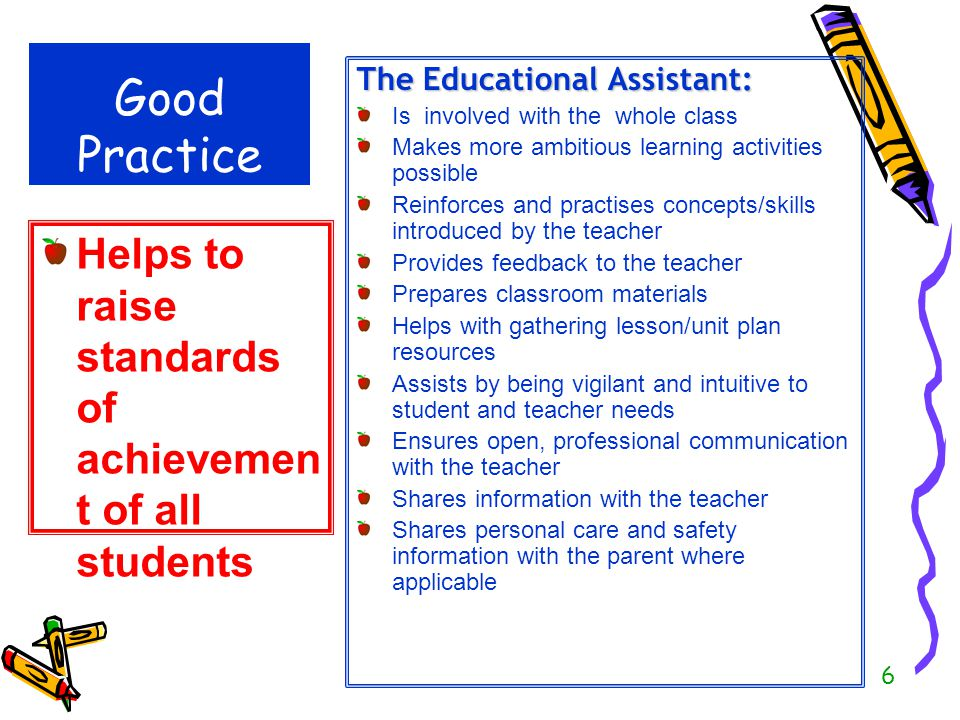Good Practice Helps to raise standards of achievement of all students