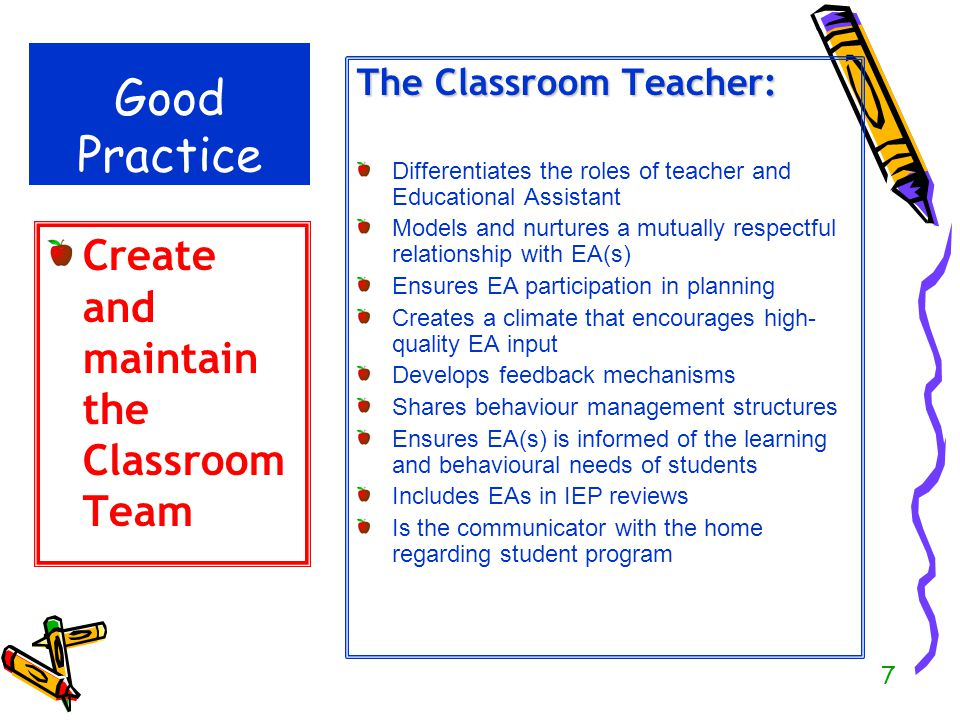 Good Practice Create and maintain the Classroom Team