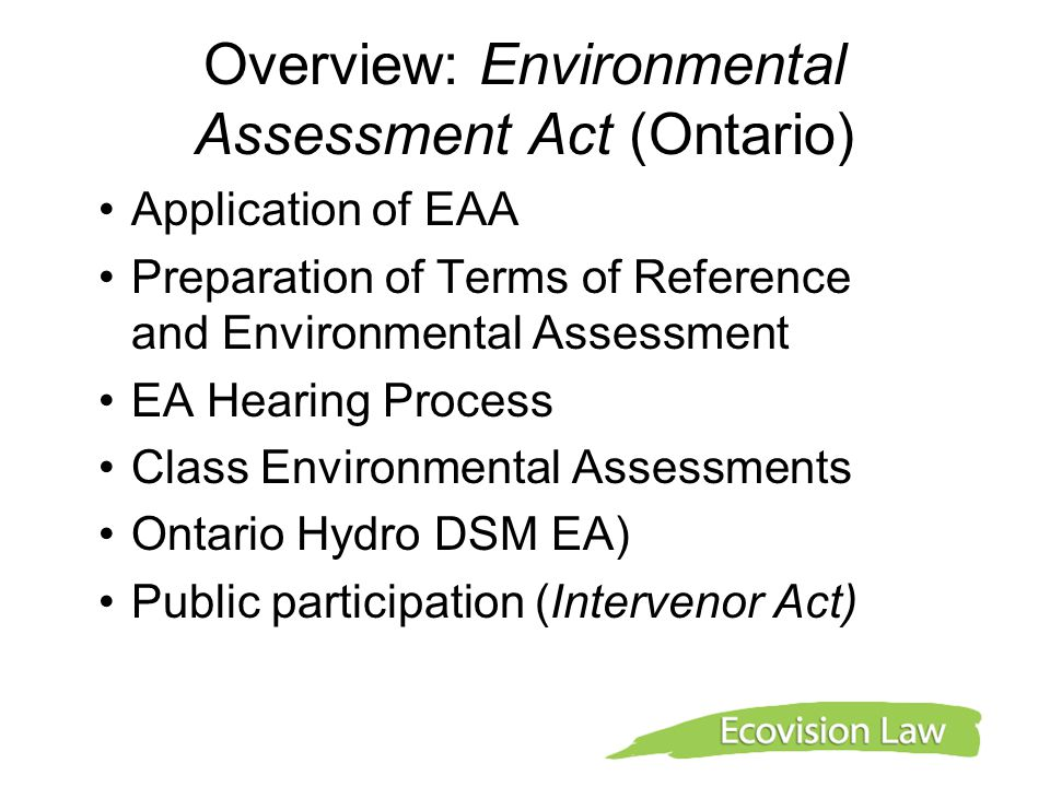 Overview: Environmental Assessment Act (Ontario)