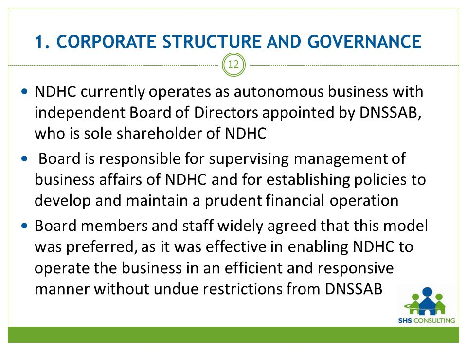 1. CORPORATE STRUCTURE AND GOVERNANCE
