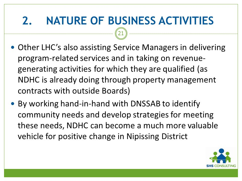 2. NATURE OF BUSINESS ACTIVITIES