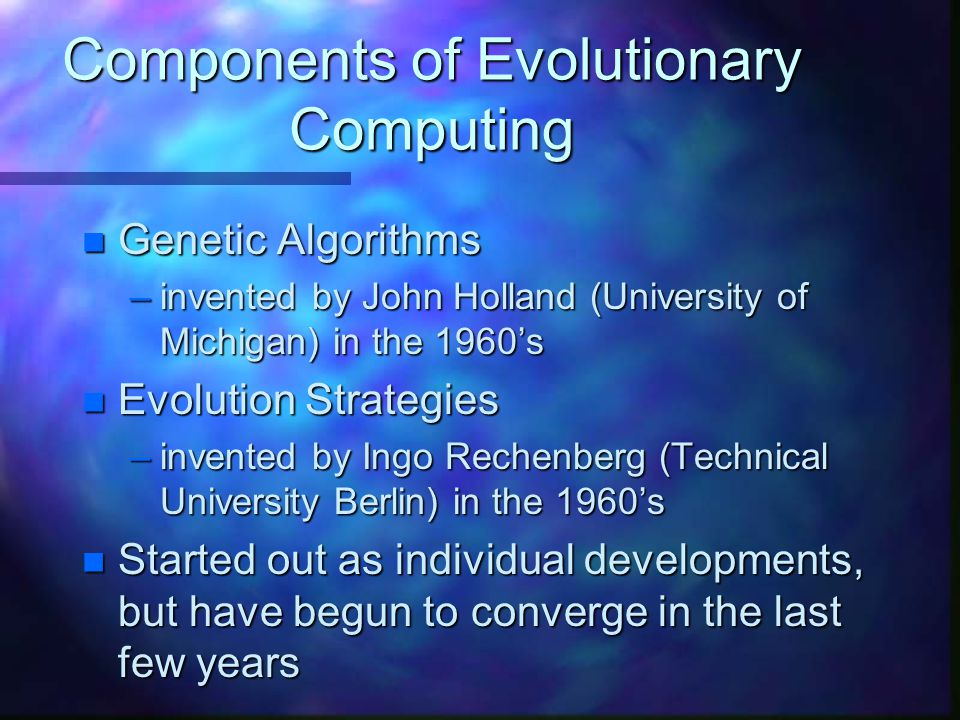 Components of Evolutionary Computing