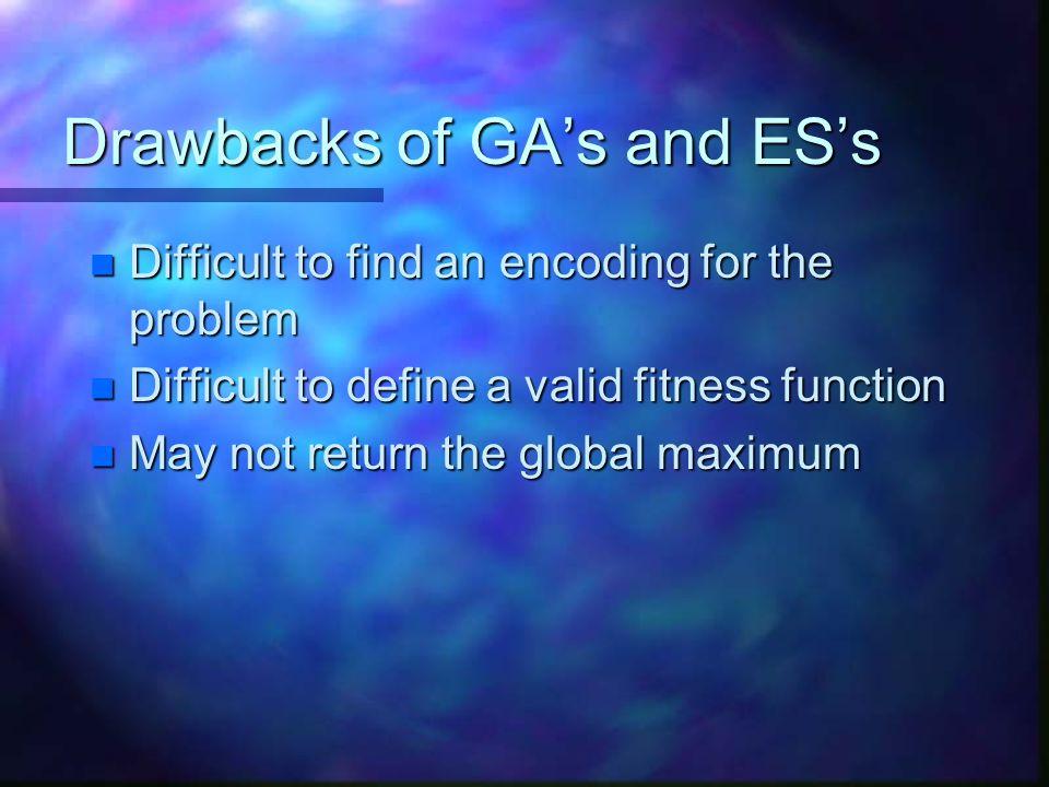Drawbacks of GA's and ES's