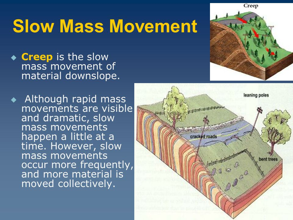 Slow Mass Movement Creep is the slow mass movement of material downslope.