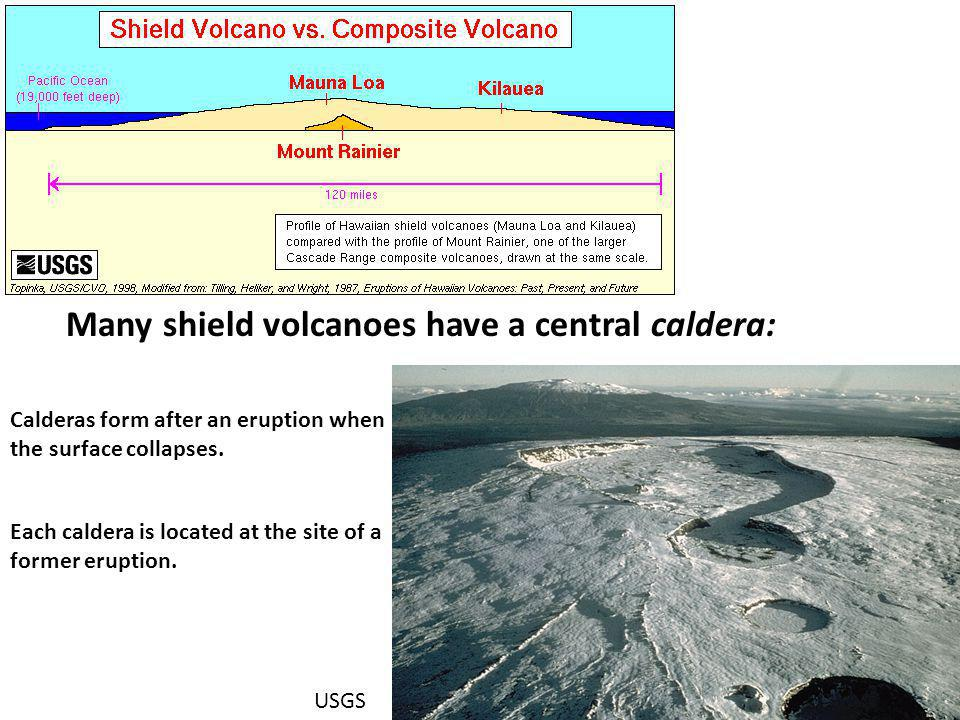 Many shield volcanoes have a central caldera: