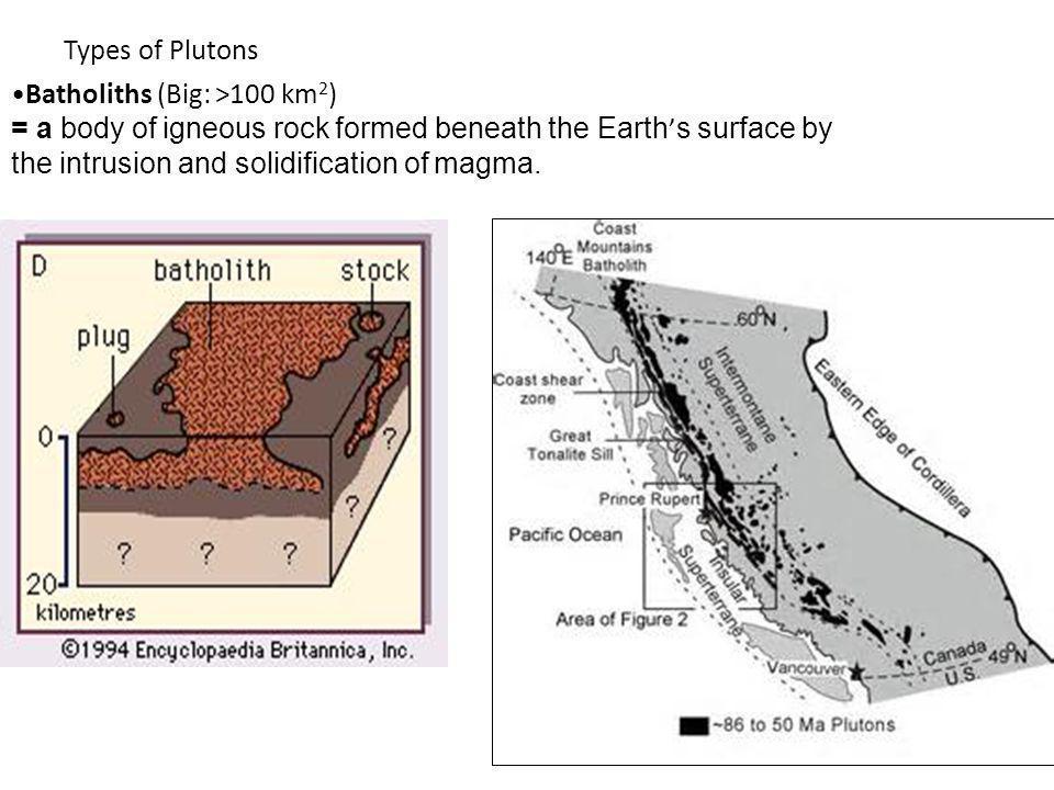 Types of Plutons Batholiths (Big: >100 km2)