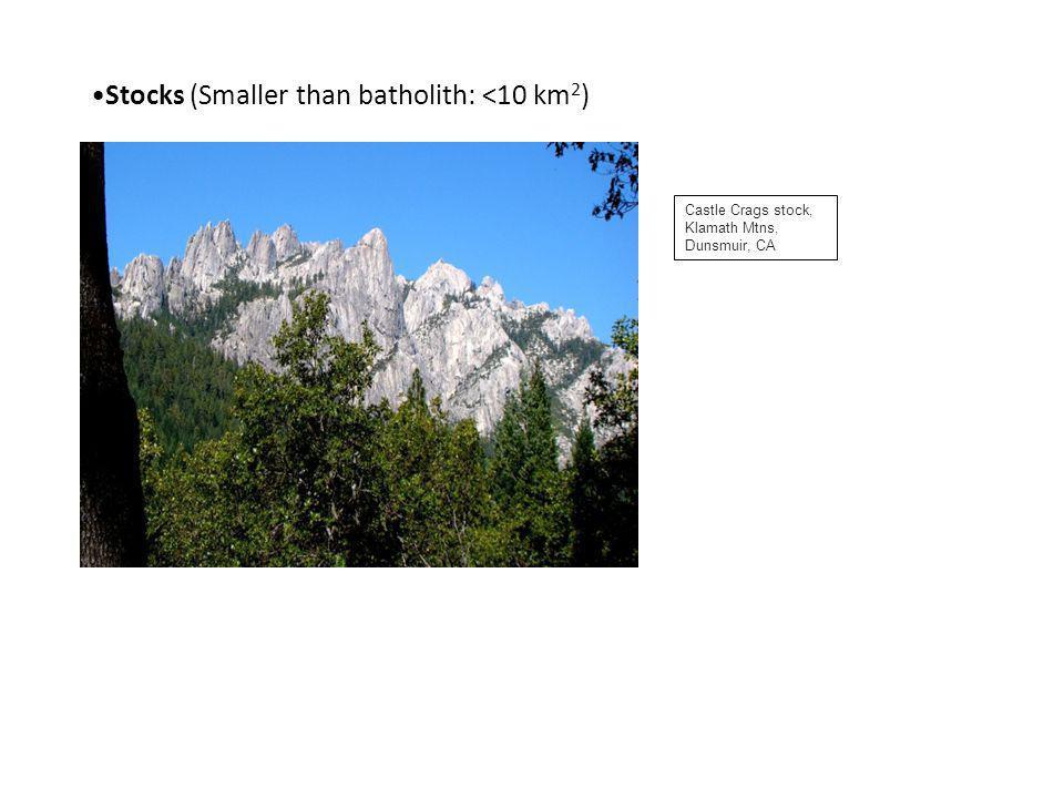 Stocks (Smaller than batholith: <10 km2)