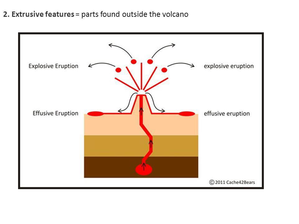 2. Extrusive features = parts found outside the volcano