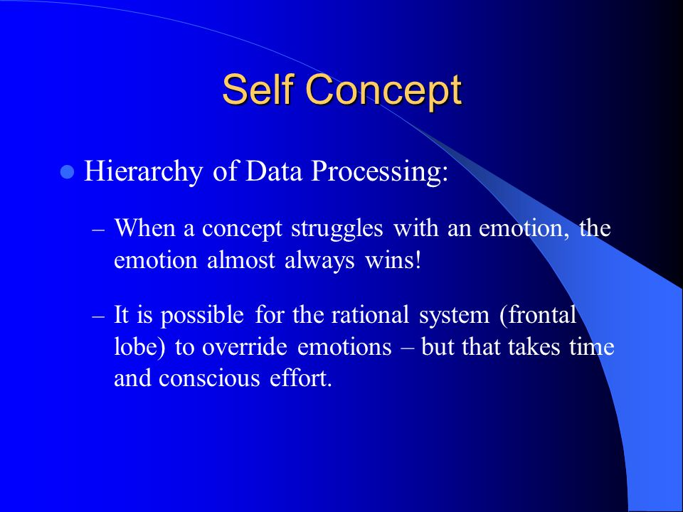 Self Concept Hierarchy of Data Processing: