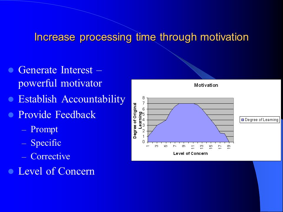 Increase processing time through motivation