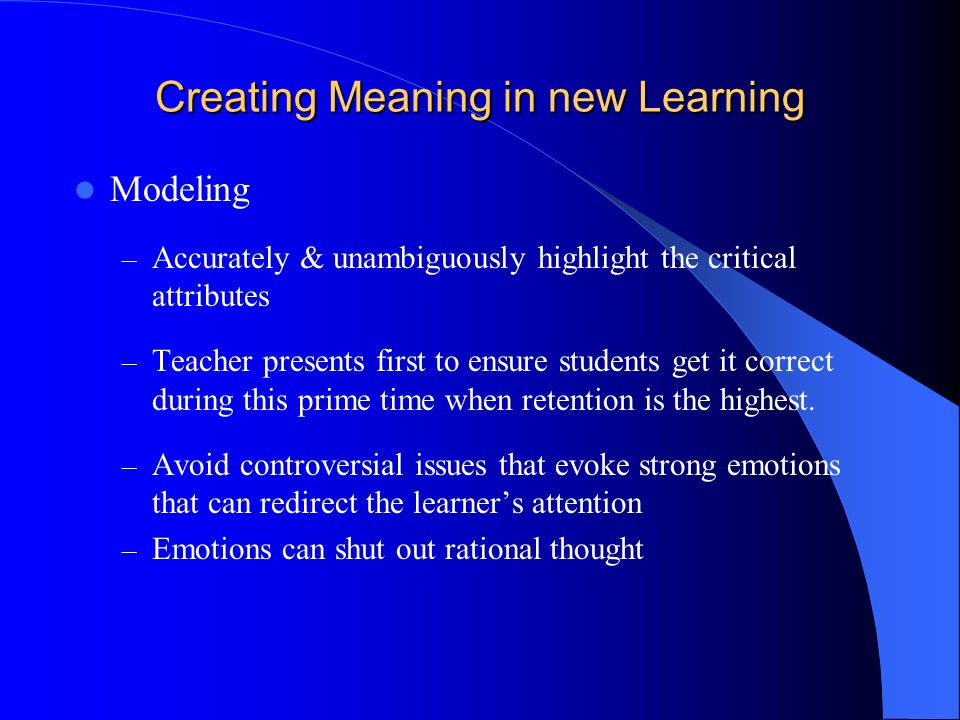 Creating Meaning in new Learning