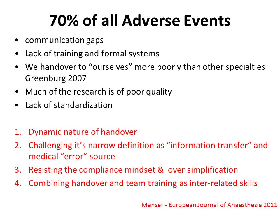 70% of all Adverse Events communication gaps