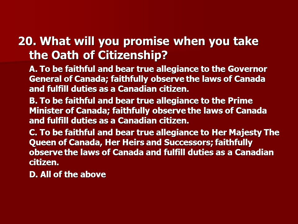 20. What will you promise when you take the Oath of Citizenship