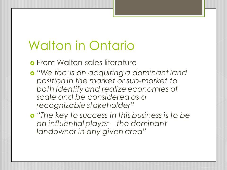 Walton in Ontario From Walton sales literature