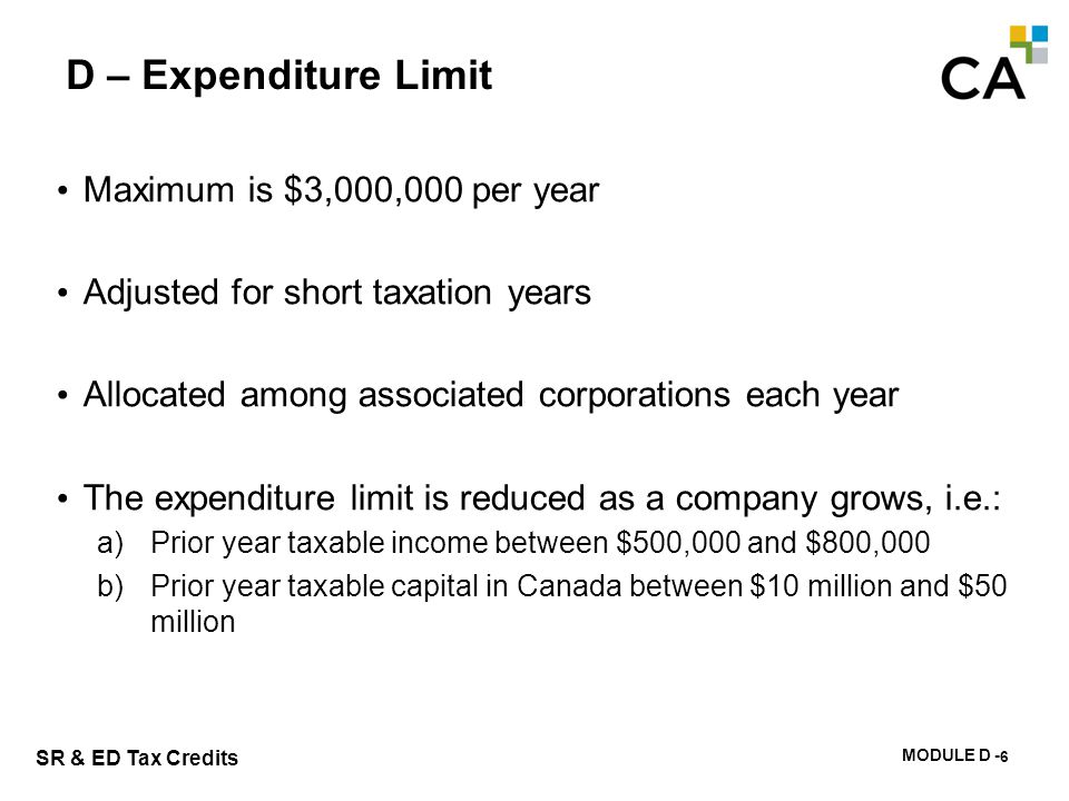 D – Expenditure Limit Eliminated if: