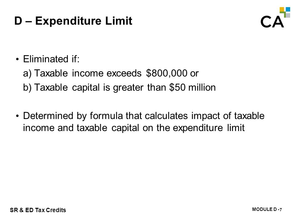 D – Calculation of the Expenditure Limit
