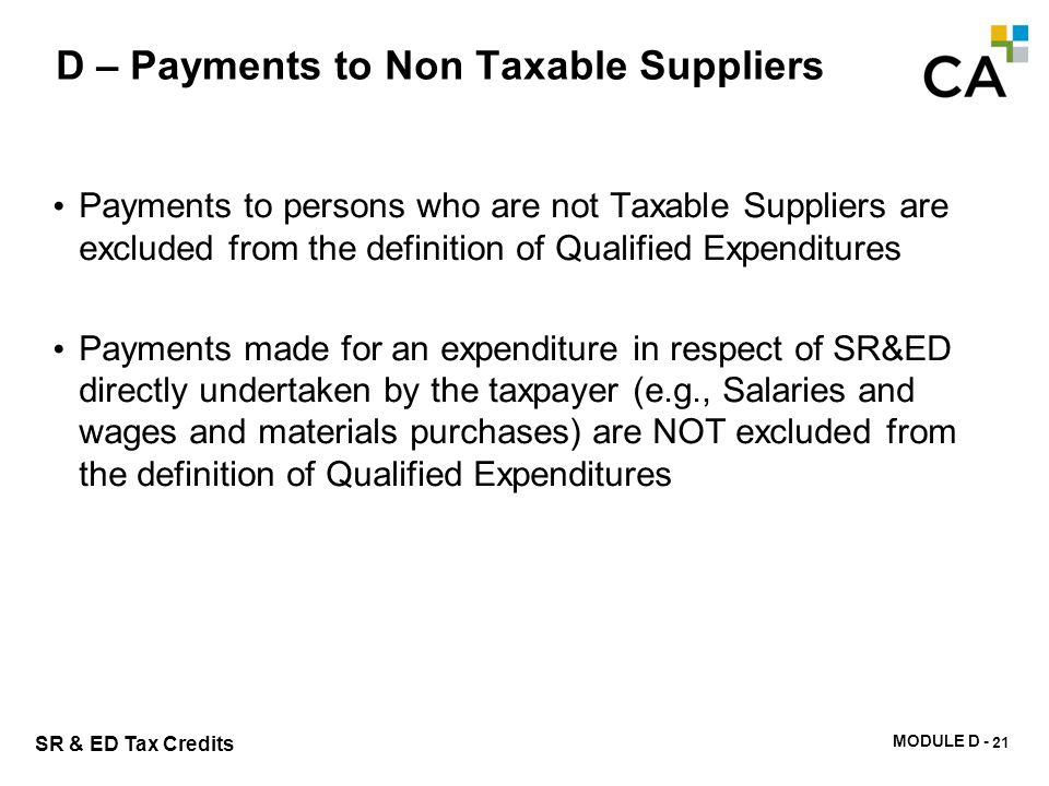 D – Taxable Supplier Definition