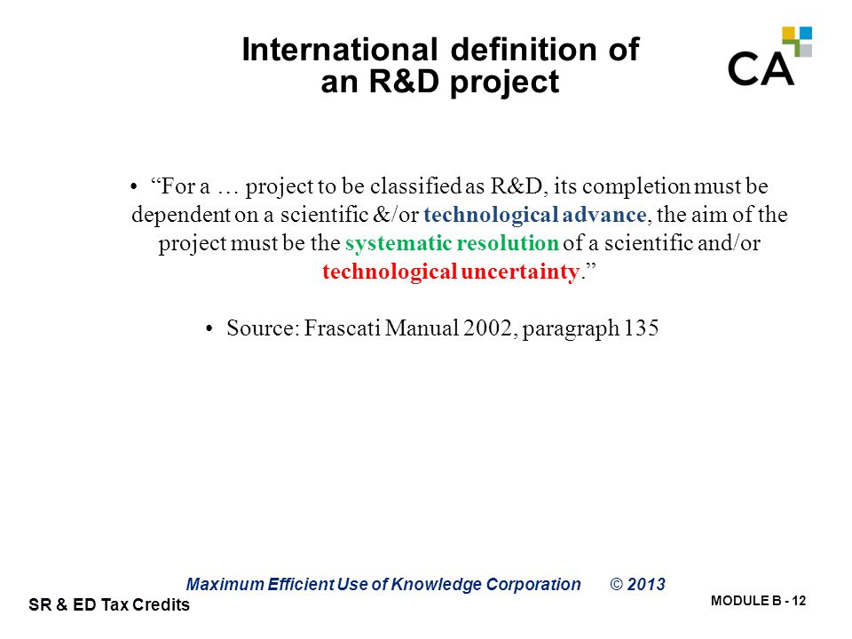 International Def'n of Qualified Projects (Scientific Method)