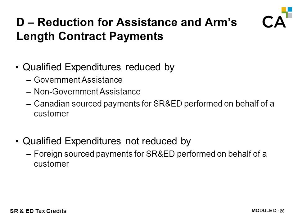 D – Arm's Length Contract Payments – Qualified Expenditures