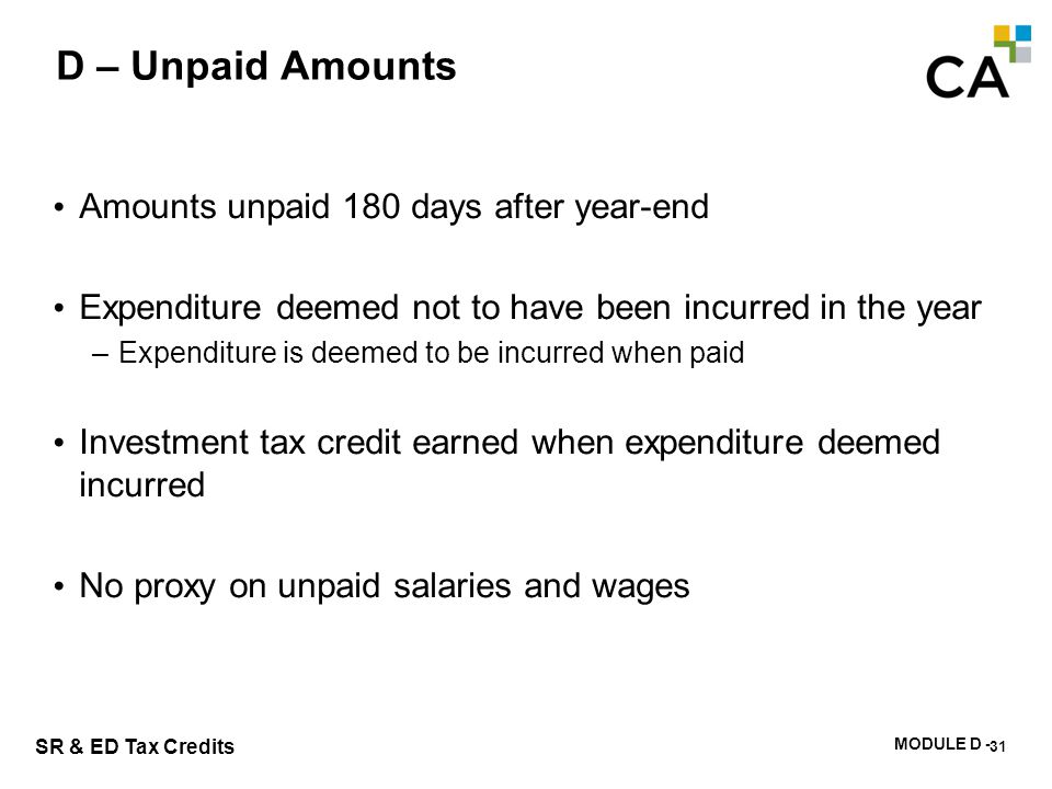 D – Exercise #1 What is the basis for calculation of the investment tax credit