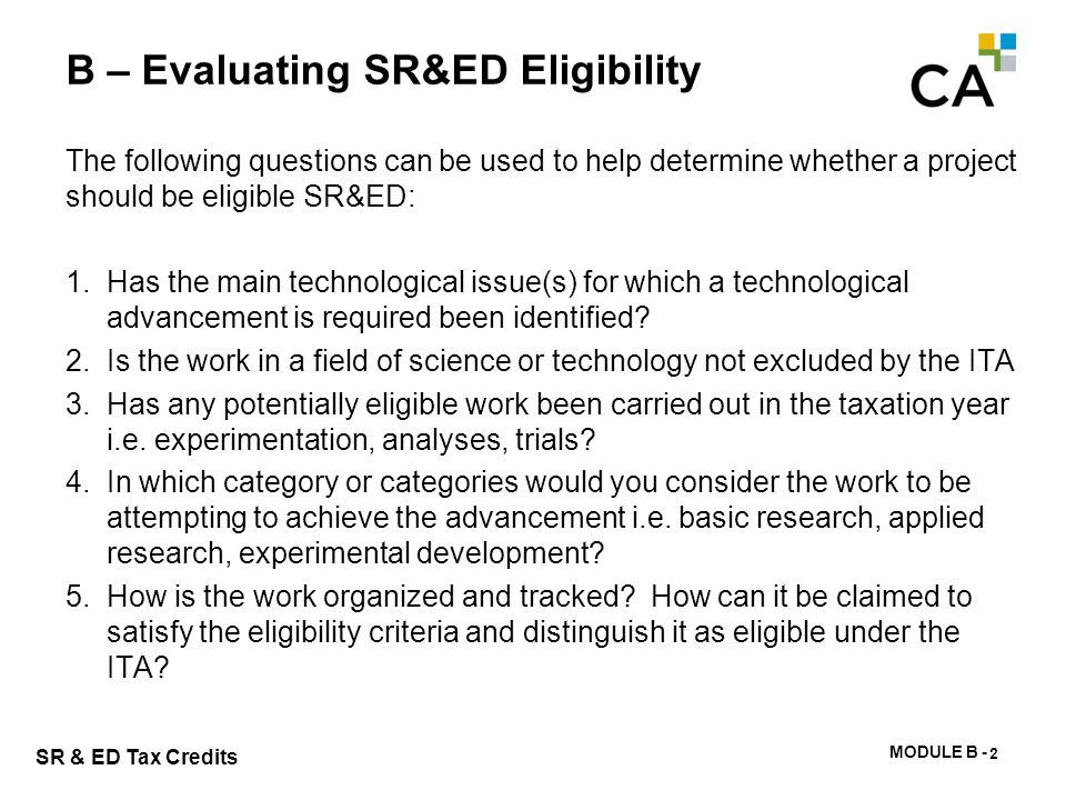 B – SR&ED Legislation on Eligibility