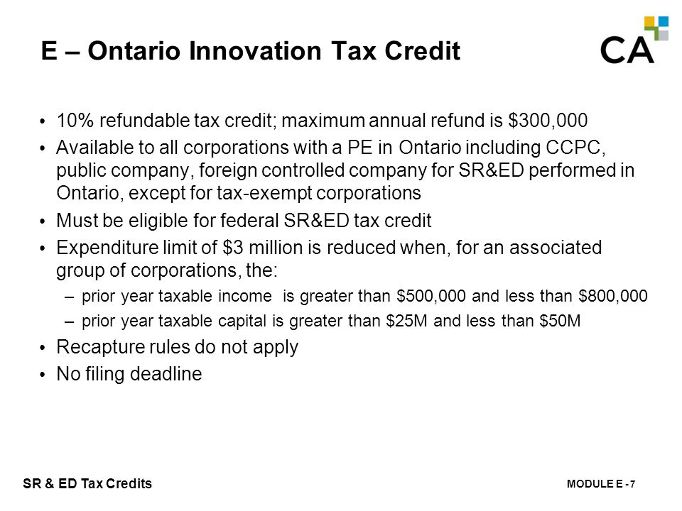 E – Ontario Research & Development Tax Credit
