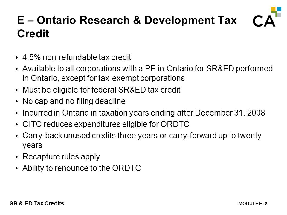 E – Ontario Business - Research Institute Tax Credit