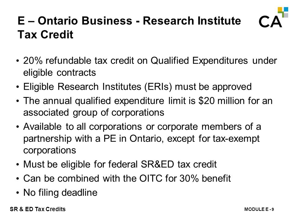 E – Québec Tax credit for Salaries and Wages (R-D)
