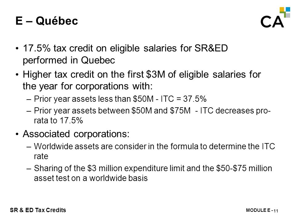 E – Québec Examples based on corporation's assets in $ millions