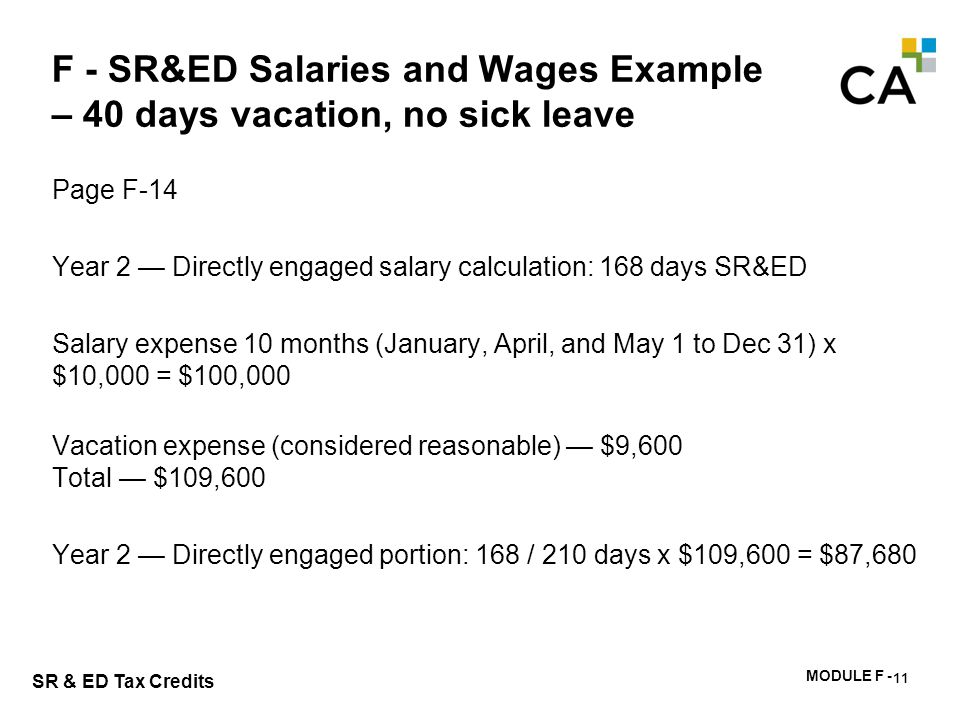 F - SR&ED Salaries and Wages Example – no vacation, 125 days sick leave