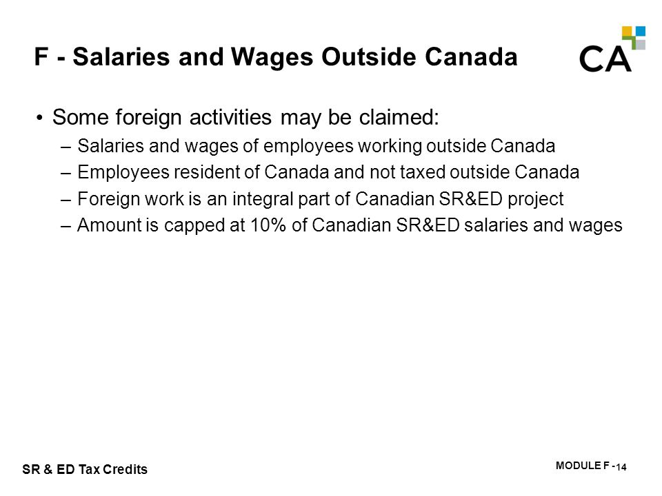 F - Salaries and Wages Outside Canada