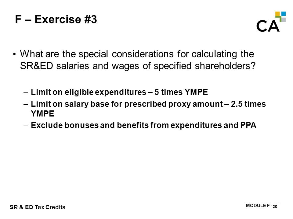 F – Exercise #4 Calculate the prescribed proxy amount for HCL. 21