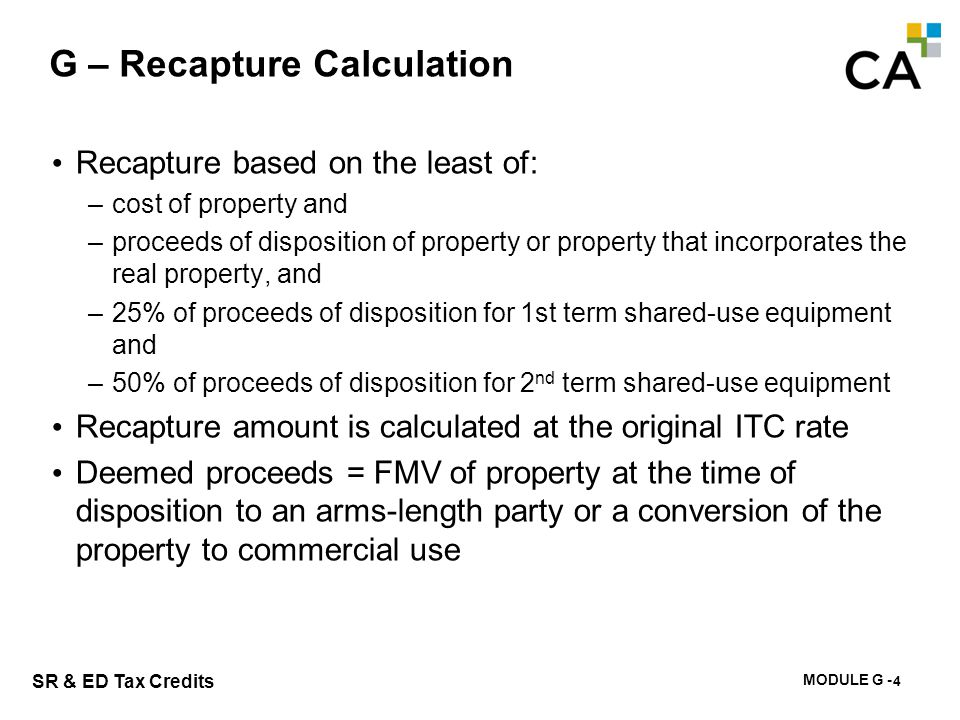 G – Calculation of Recapture – example